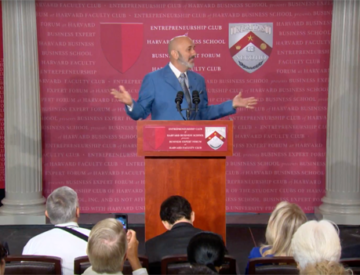 Dave Nassaney giving speech at Harvard Podium3