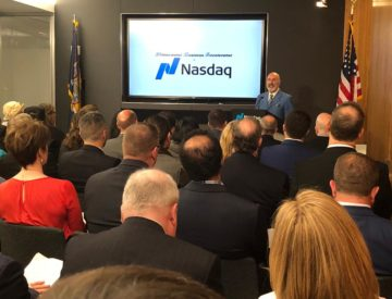 Dave Nassaney giving speech at Nasdaq